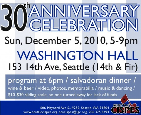 December 5th: Seattle CISPES 30 year Anniversary Celebration