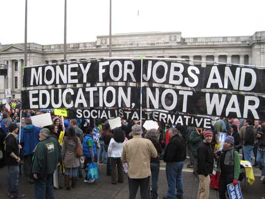 """Oct 9th –  """"Money for Jobs and Education, Not War and Occupation"""""""