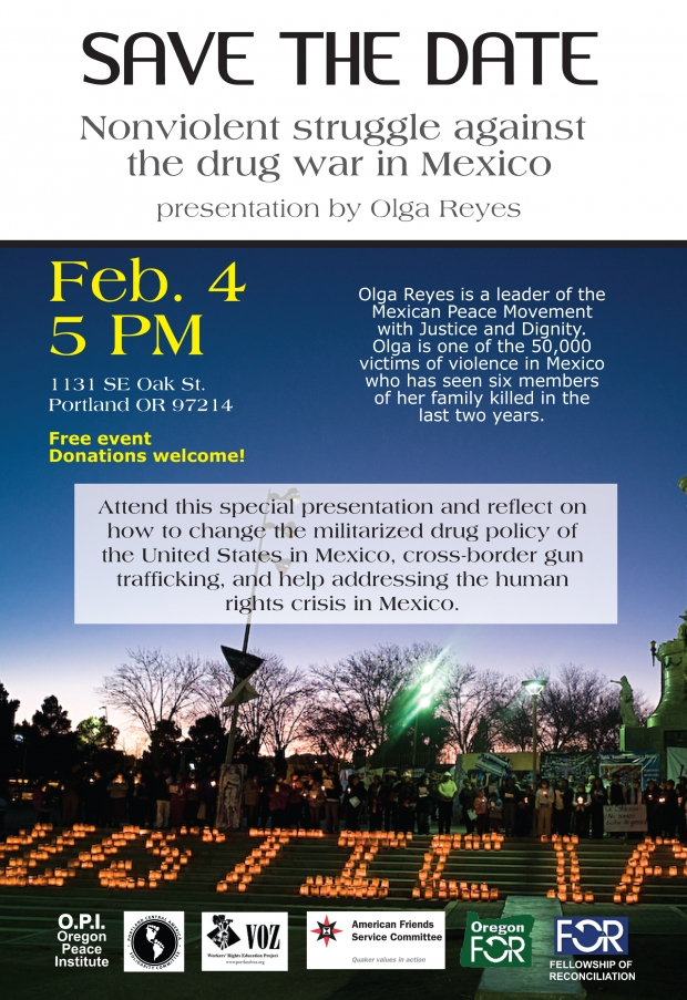 Olga Reyes – Nonviolent Struggle Against the Drug War in Mexico – Feb 4th